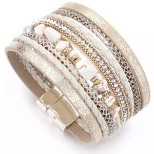 Gold Sparkling Stone Multi Strap Wrap Bracelet